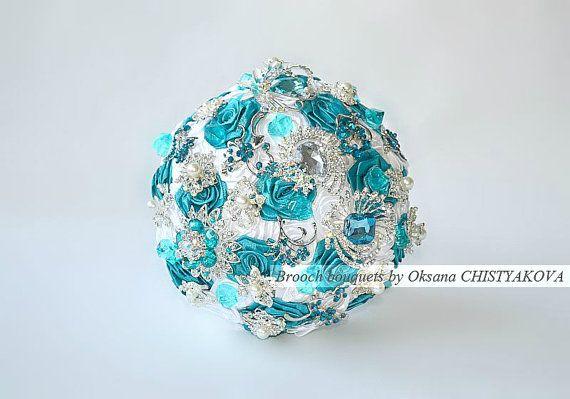Sarcelle et argent broche Bouquet de mariage. par Chistyakova, $150.00