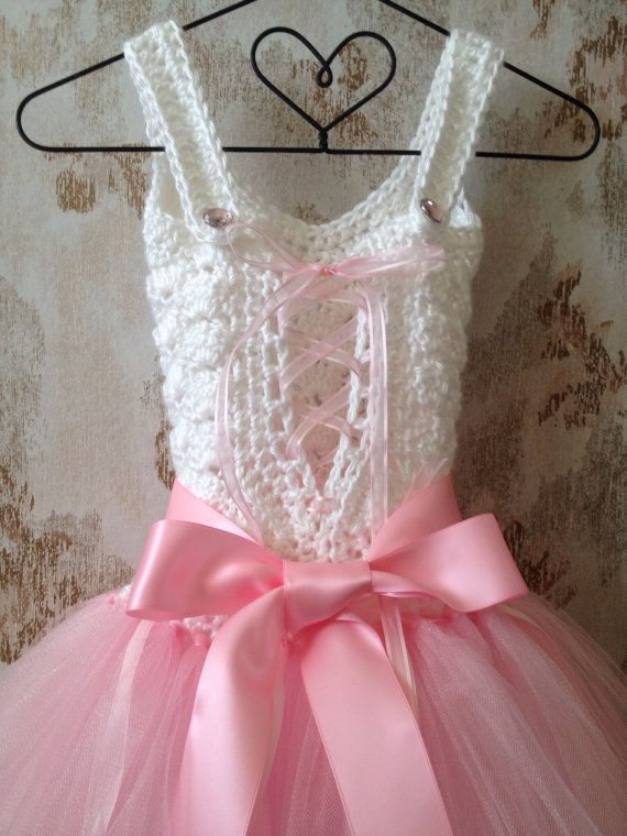 Pink flower girl tutu dress crochet tutu dress pink por Qt2t