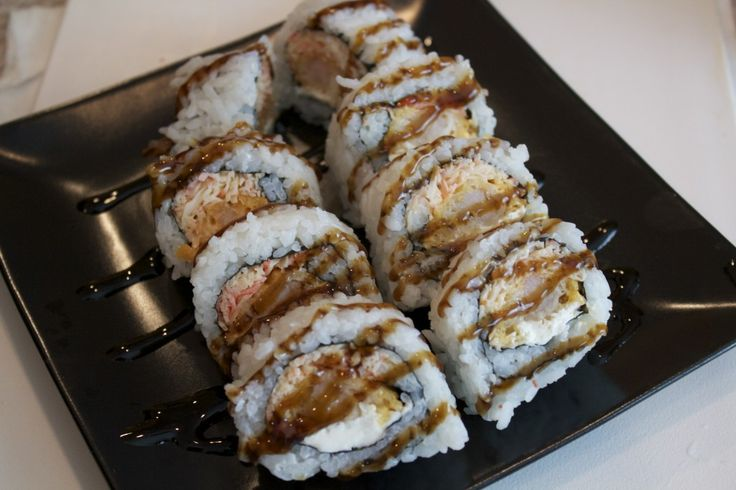 Shrimp Tempura Sushi Roll with Spicy Crab and Eel Sauce