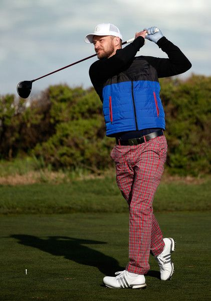 Justin Timberlake Photos Photos - Justin Timberlake plays his tee shot on the 13th hole during the second round of the AT&T Pebble Beach National Pro-Am at the Monterey Peninsula Country Club (Shore Course) on February 12, 2016 in Pebble Beach, California. - AT&T Pebble Beach National Pro-Am - Round Two