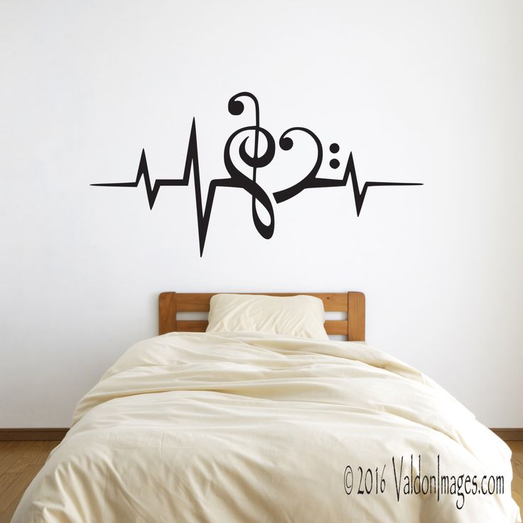 Heartbeat music note wall decal, music wall decal, dorm room decor, bedroom wall decal, living room wall decal, teen room decor, heart decal by ValdonImages on Etsy https://www.etsy.com/listing/271257076/heartbeat-music-note-wall-decal-music
