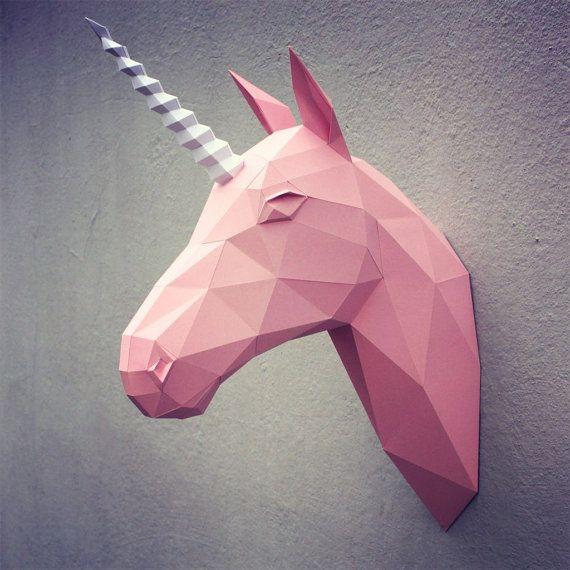 Tête de licorne papercraft  modèle DIY par WastePaperHead sur Etsy