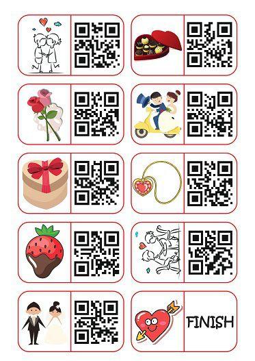 Walentynki Valentine's Day games QR domino
