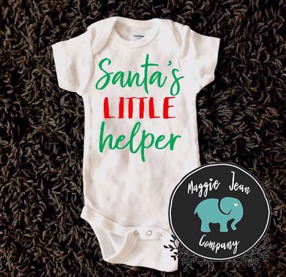 Santa's Little Helper, Onesie, Bodysuit, Christmas Onesie, Baby Shower Gift, First Christmas Onesie, Best Gift Ever by MaggieJeanCo on Etsy https://www.etsy.com/listing/563700717/santas-little-helper-onesie-bodysuit