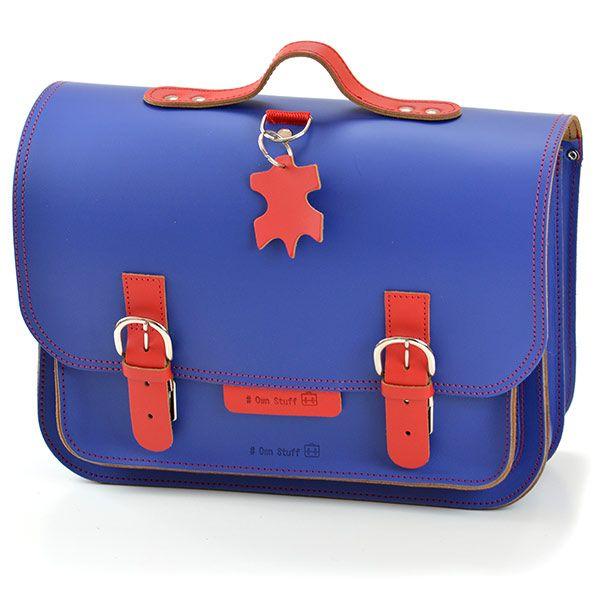 Own Stuff lederen boekentas 38cm - blauw - rood