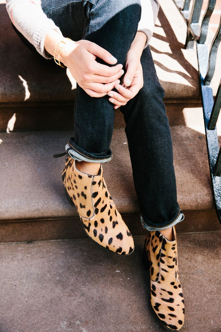 """A Heeled, Printed Bootie + A Straight-Leg Jean. The best way to make your so-broken-in-they're-bespoke jeans seem new again? An exciting shoe to anchor the look."""