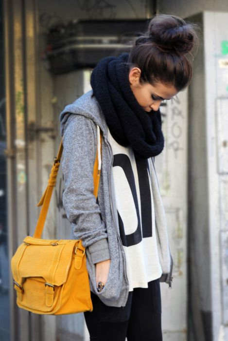 comfy and stylish: Fashion, Style, Weekend Wear, Big Scarves, Infinity Scarf, Winter Outfit, Messy Buns, Socks Buns, High Bun