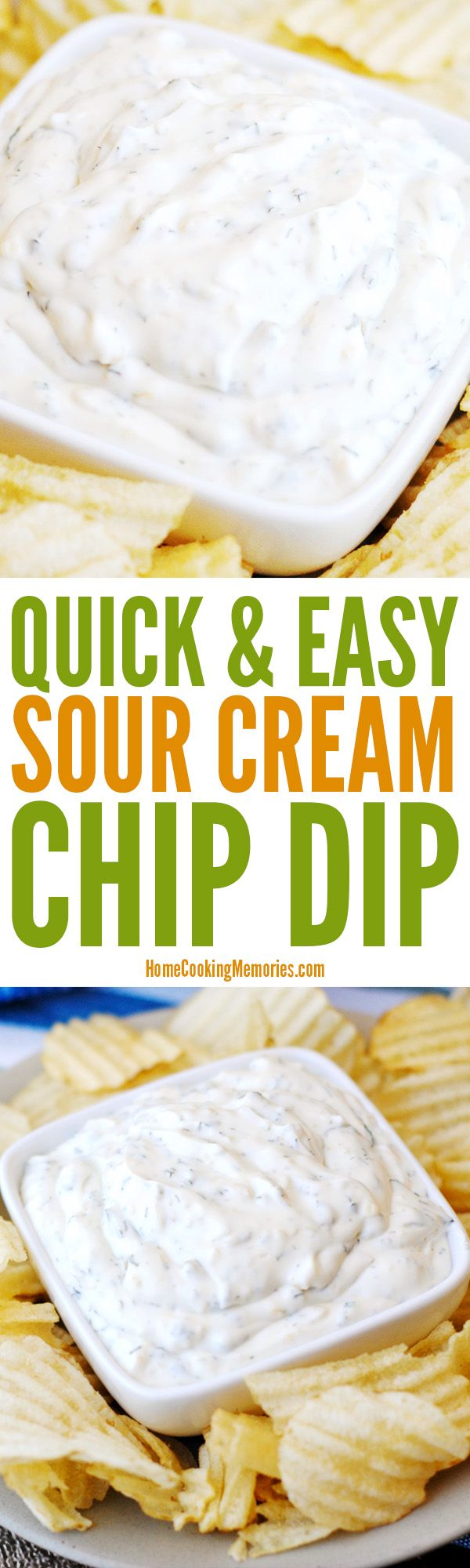 Quick & Easy Sour Cream Chip Dip recipe for your next party, get-together, or game day. It uses a full 16-ounce container of sour cream, plus four simple pantry ingredients: dried minced onion, dried parsley, dill weed, and garlic salt. DELICIOUS!