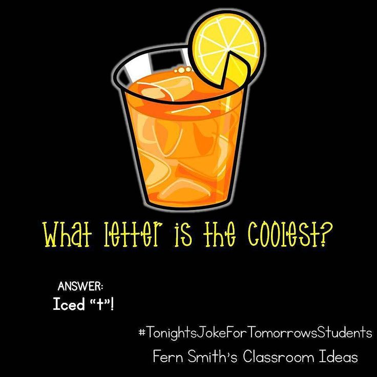 Tonight's Joke for Tomorrow's Students What letter is the coolest? Iced T! Follow me on Pinterest where I have an entire board dedicated to my jokes.  Pinterest: FernSmith Board: Jokes for Kids.  #TonightsJokeForTomorrowsStudents  #FernSmithsClassroomIdeas