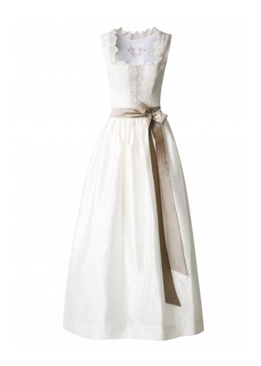 A dream in in cream-white shows up at the wedding Dirndl Michael Bach. Extravagant bodice with fine lace was coated and sumptuously decorated with Swarovski beads.   Appropriately, an off-white skirt and a cream-white apron shows wonderfully in contrast to the apron strings held in gold color.