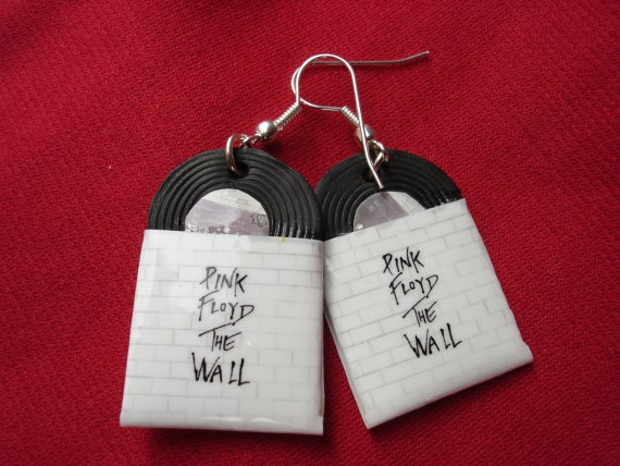 the wall pink floyd lp miniature earrings by andreachalari on Etsy, $12.00