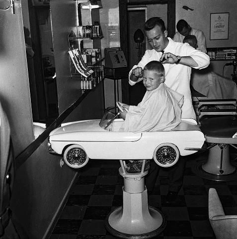 I love going to the barbershop ~ | barber | haircut | vintage | black & white photography | hairdresser | old school | cool | fun | toy car | awesome idea