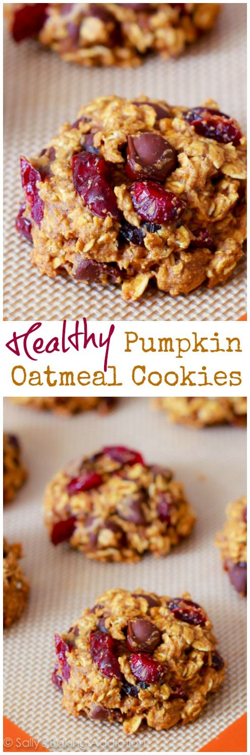 Delicious pumpkin oatmeal cookies without all the fat and sugar. These simple cookies are ready in only 25 minutes!