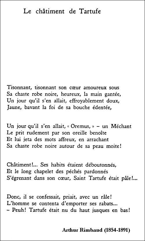 Arthur rimbaud le ch timent de tartufe po sie pinterest - Lecture analytique le dormeur du val arthur rimbaud ...