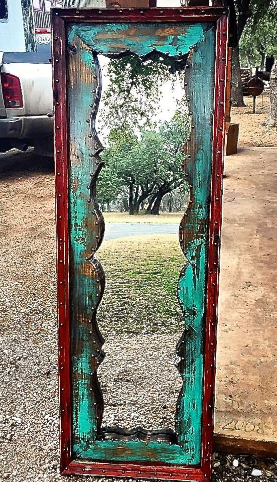 re-do a mirror...Fringe Dressing Mirror - Sofia's Rustic Furniture