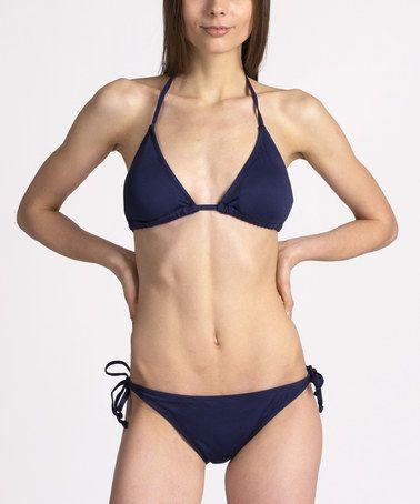 Loving this Navy Triangle Bikini on #zulily! #zulilyfinds