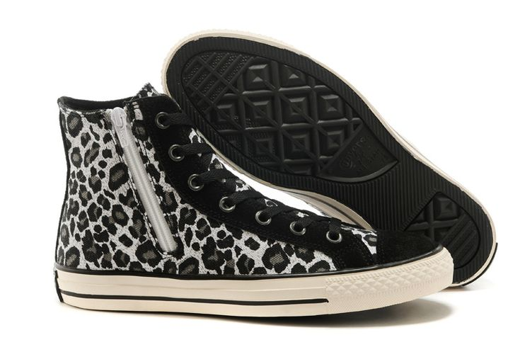 Converse Leopard Black White Suede High Tops Womens Shoes