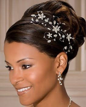African American Wedding Hairstyles & Hairdos: Updo With Hair Jewelry