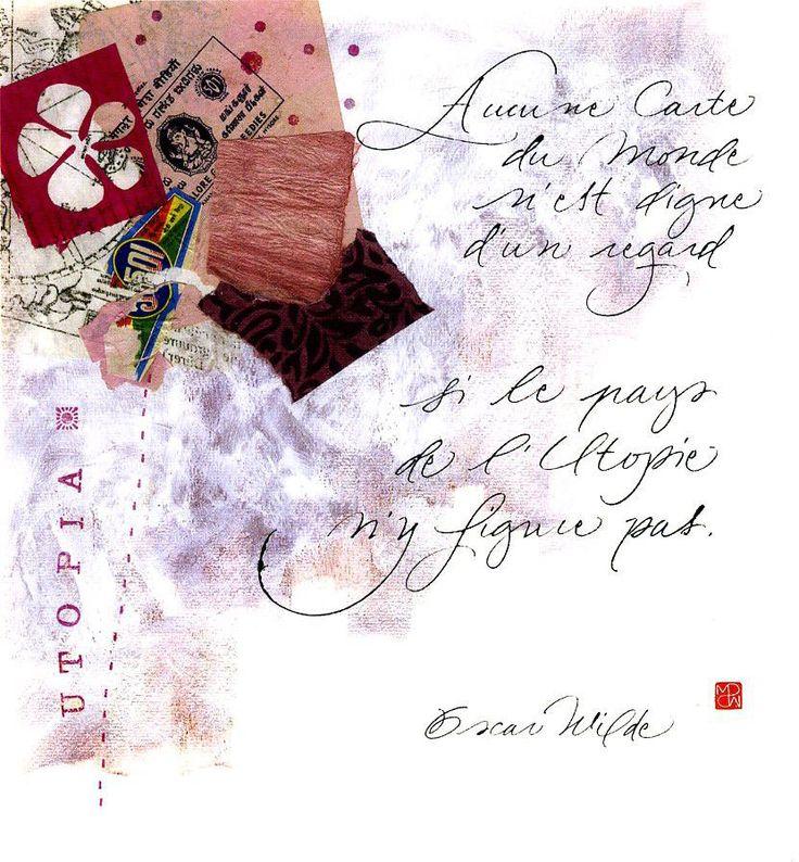 """Carte postale calligraphiée """"Utopie"""" par MarinePSM #calligraphie #citations"""