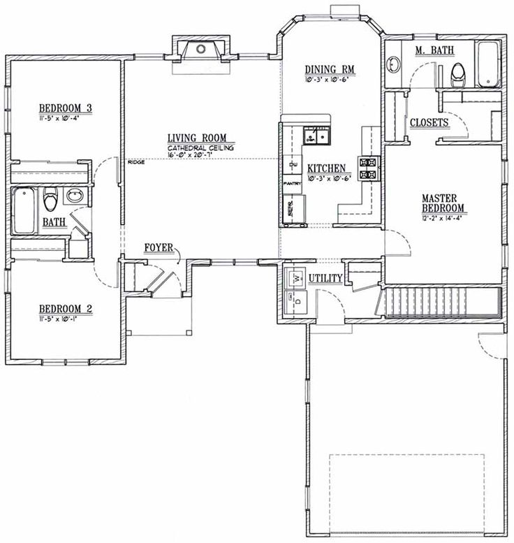 3 Bedroom Ranch Floor Plans Designs Inc House Plan 9651