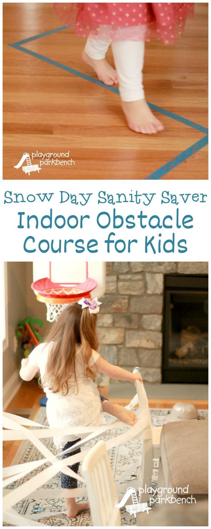 Kids going stir crazy this winter break? Burn off their cabin fever when you are stuck inside by setting up a simple obstacle course indoors!