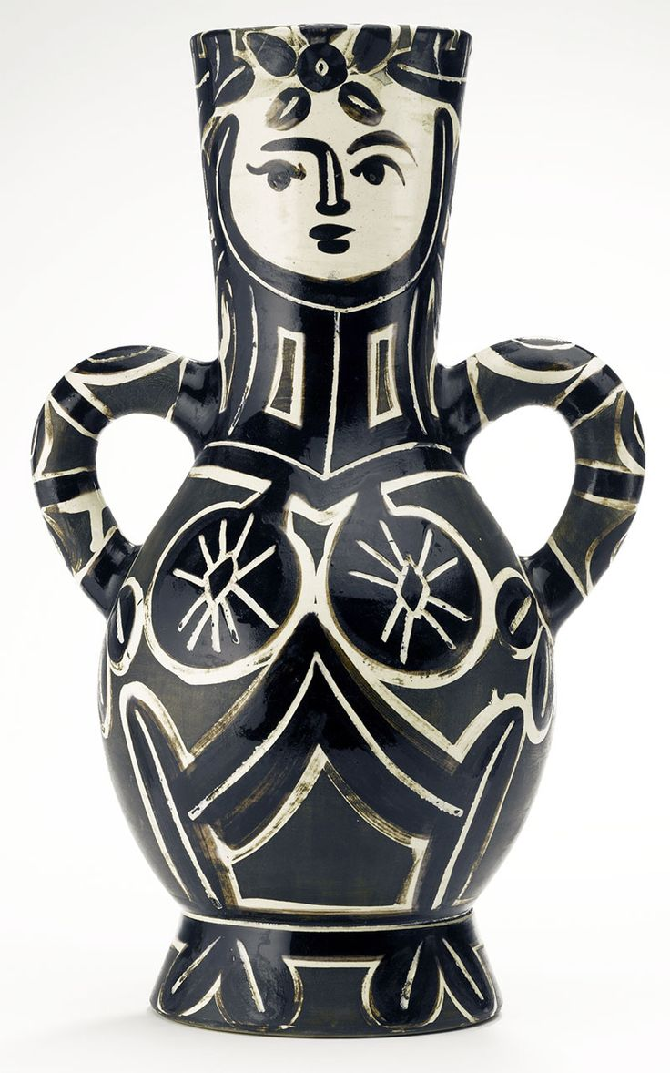 Picasso Ceramic Madoura Sculpture Signed, Vase with two high handles, 1953