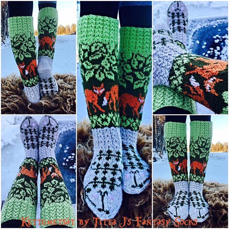 Kettumetsät/ fox in a forest socks by Titta J's Fantasy Socks