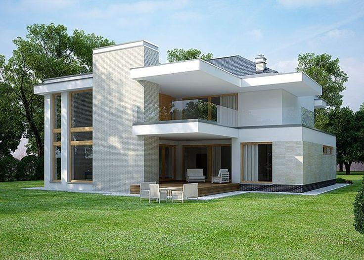 Projekt nowoczesnego domu piętrowego. Zaprojektowany dla rodziny 4-6 osobowej. Posiada piękny taras, umieszczony od południowej strony.