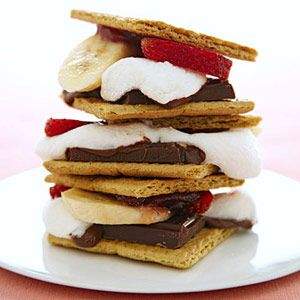 Strawberry banana S'mores......Why didn't I find this before we went camping?