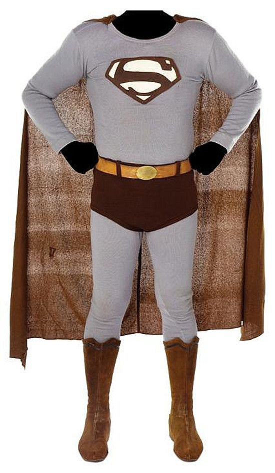 George Reeves' Superman costume from The Adventures of Superman...these colours were used for the b&w series.