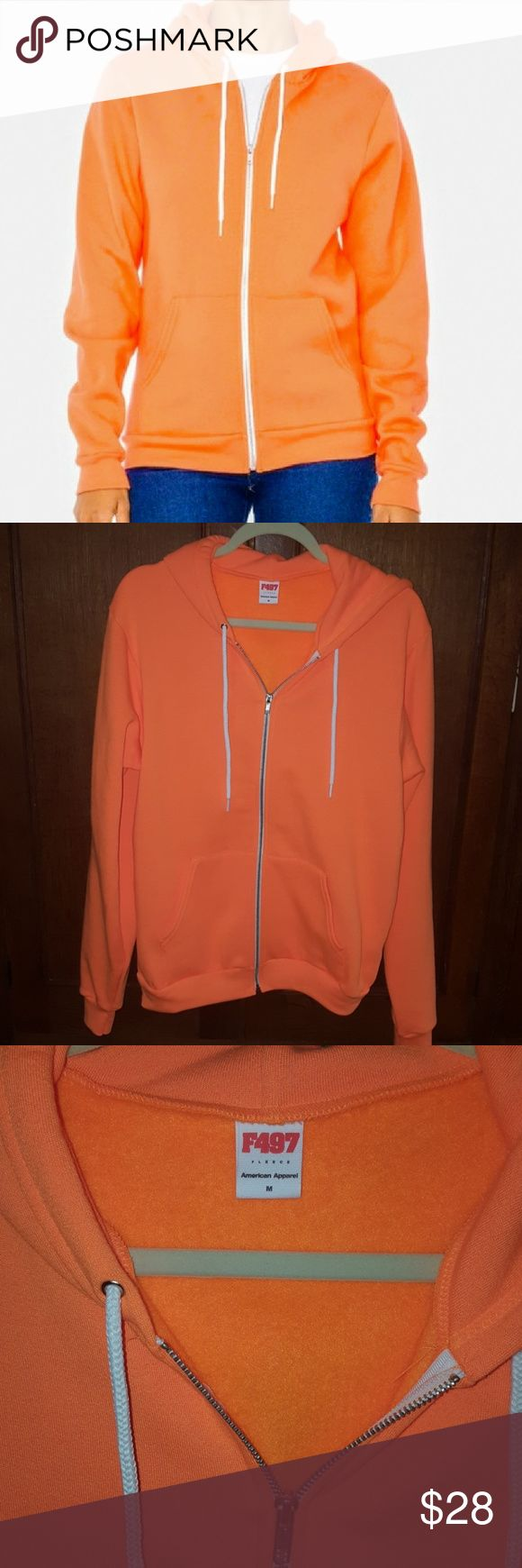 """NWOT American Apparel Unisex Neon Orange Hoodie Brand new. VERY neon orange. Super bright. Fleece inside. Unisex. Size M (large in women's). Tried on once it arrived from AA and didn't work for me.   Shoulder to shoulder approx 19 3/4"""", armpit to armpit 20"""", sleeve 28"""", length from shoulder 26.5"""" American Apparel Jackets & Coats"""