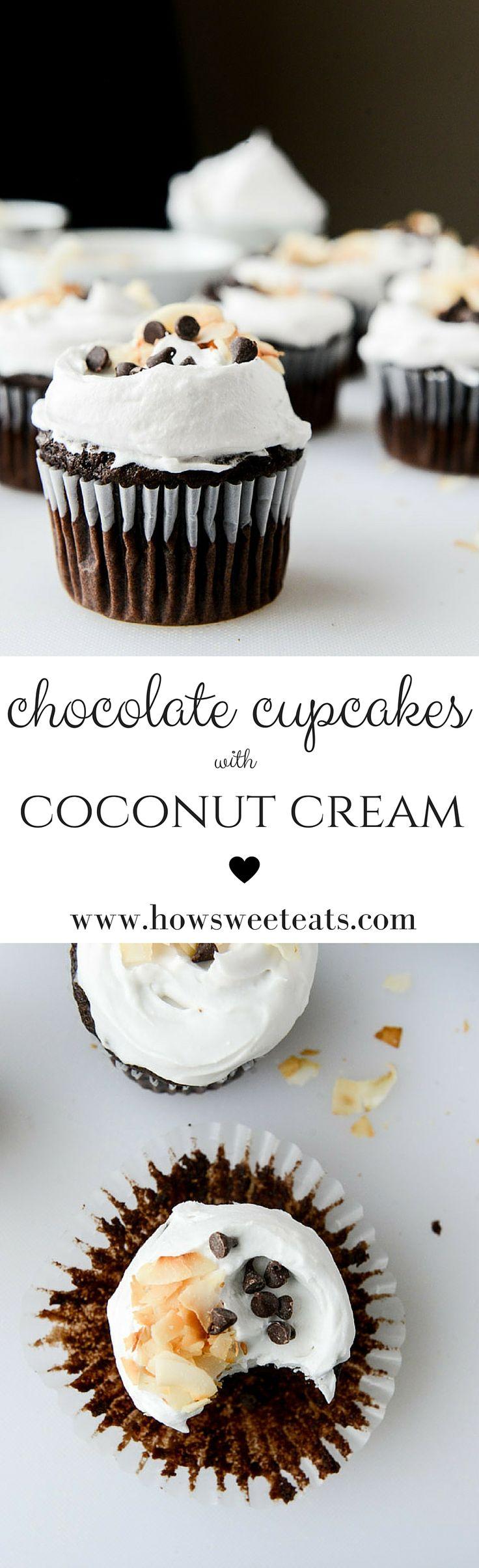 chocolate coconut cream cupcakes I howsweeteats.com