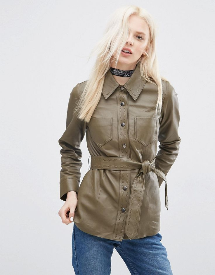 Image 1 of ASOS Leather Jacket with Self Belt and Stab Stitch Detail
