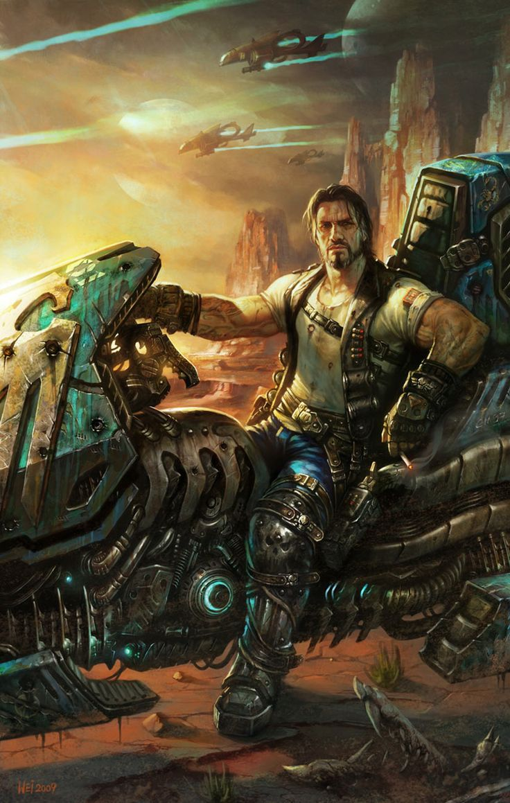 Jim Raynor from StarCraft II - Who says sci-fi characters have to be cyber-oriented? What's wrong with a sci-fi cowboy on a vulture bike?