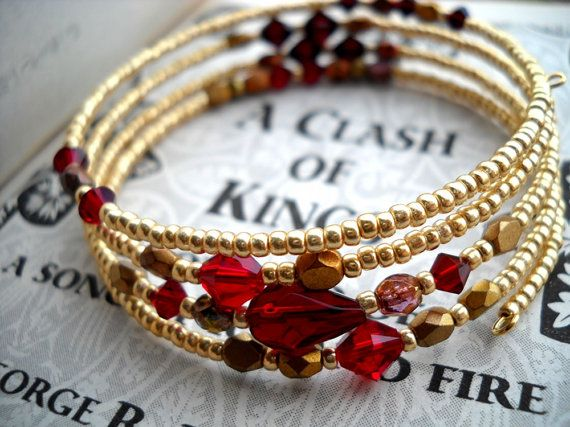 Clash of Kings - Game of Thrones inspired gold and red memory wire bracelet, Game of Thrones jewelry