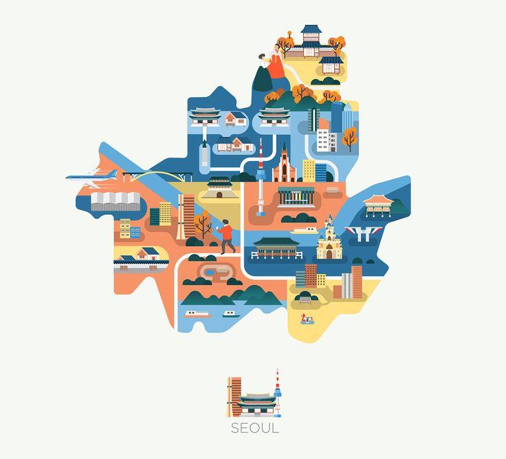 """다음 @Behance 프로젝트 확인: """"Maps of Asia""""…"""