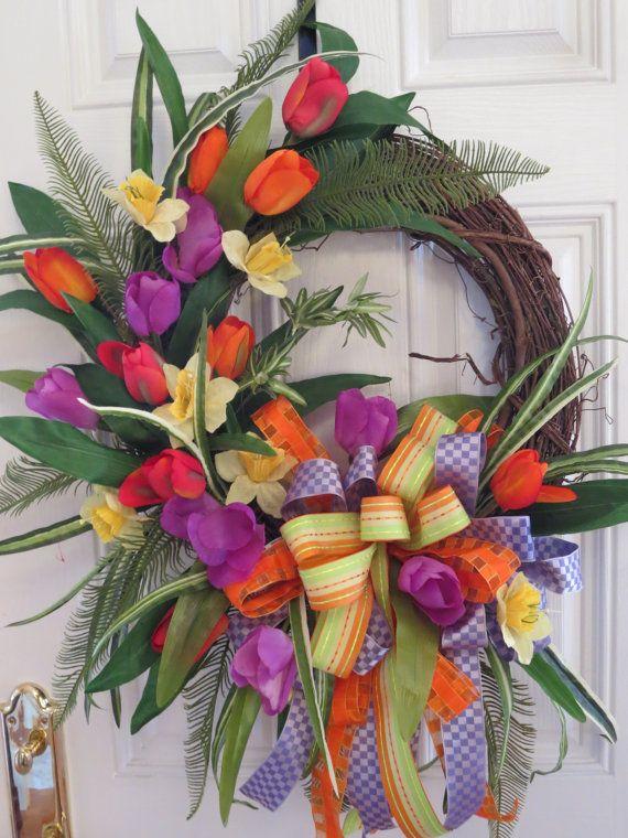 Spring or Summer Wreath Spring Door Wreath by hollyhillwreaths