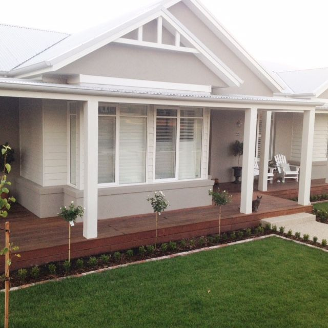 RENDER - Dulux Mangaweka; Roof - Colourbond Shale Grey; Facia - Colourbond Surfmist; Veranda posts, garage and weatherboards - Colourbond Surfmist; Windows - Dulux Vivid White; Eaves - Mount Aspiring