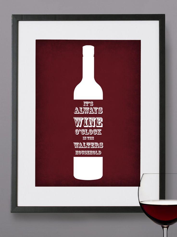 Wine O'Clock - Personalised print from MAYKI