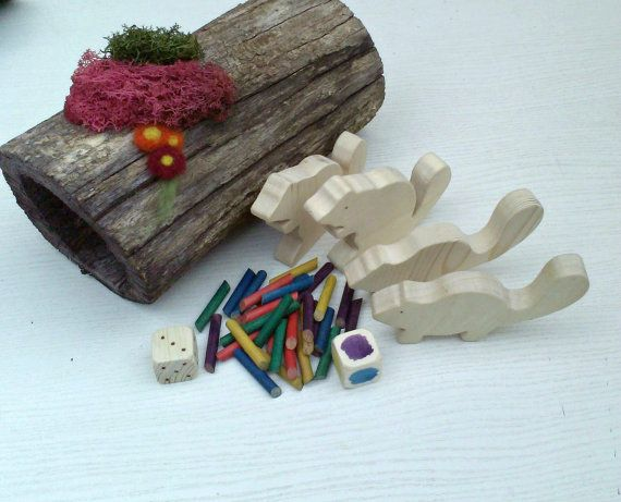 Hungry Beavers - Color Sorting Game With Wooden Beavers and Dice, Game for Four Players