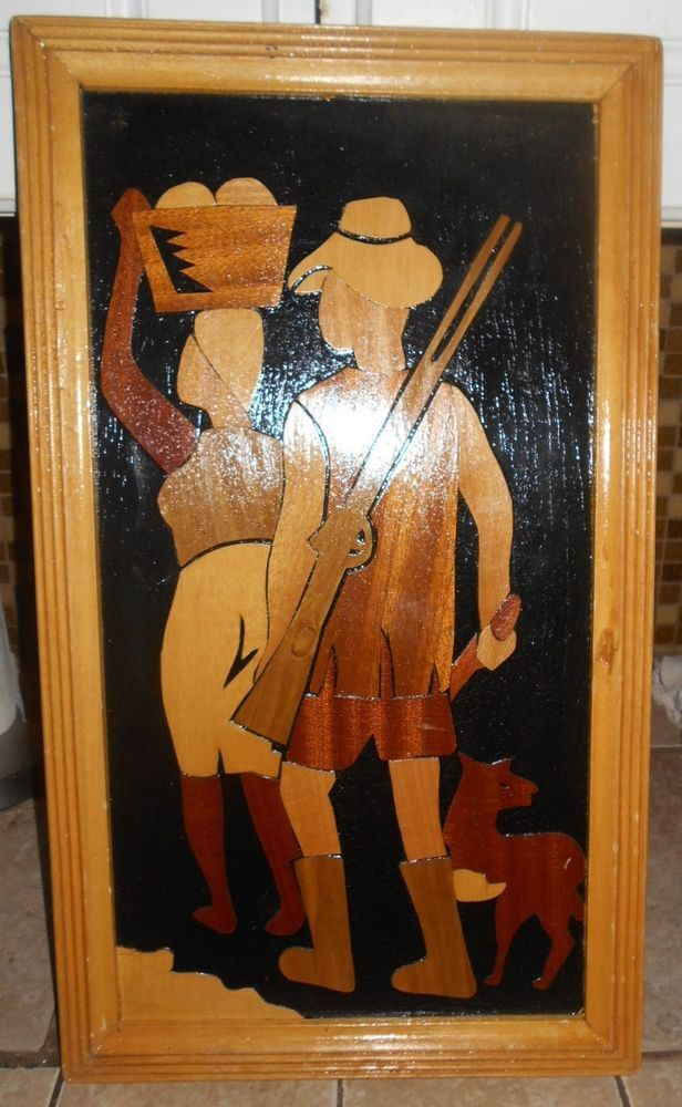 Vintage African Wood Picture Ghana Tema Accra Hunter Woman Dog Nart Artistic