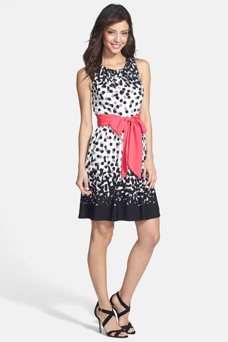 Eliza J | Eliza J Dot Print Jersey Fit & Flare Dress
