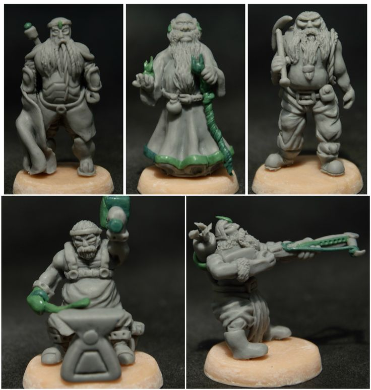 40 mm Dwarf Miniatures - Fighter, Mage, Scavenger, Blacksmith and Archer