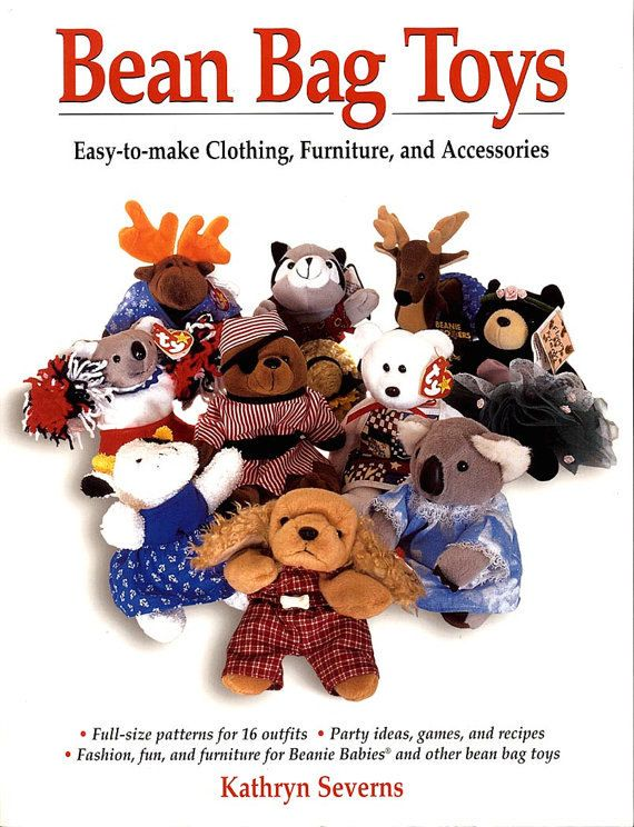 Bean Bag Toys by Kathryn Severns offers 16 DIY full size patterns for outfits to adorn Ty®, Beanie Baby®, Floppy Friends®, Precious Plush®, and other small bean bag animals.  In addition to full size patterns for outfits, Bean Bag Toys offers retro groovy party ideas, games, and recipes giving you many options for dressing up, playing with, and throwing parties for your toys. The simple step by step instructions for these easy sewing projects are suitable for a novice sewer and these items…