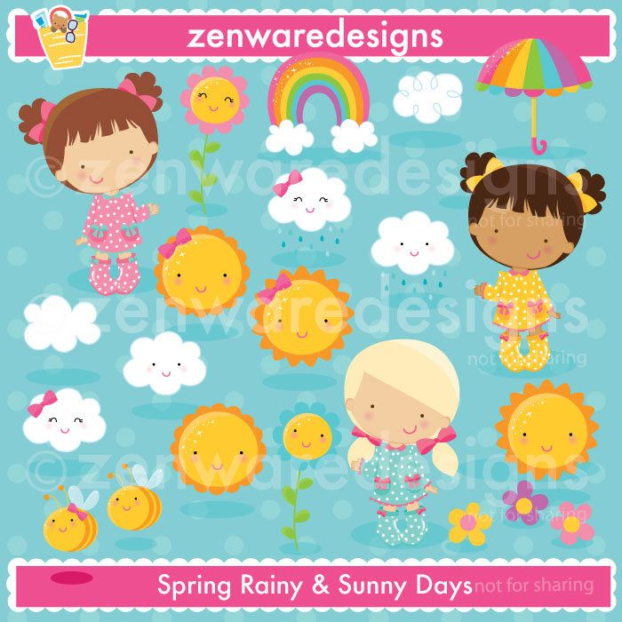 Sunny Day Rainy Day Weather Clipart Etsy Weather Clipart Clip Art Rainbow Clipart