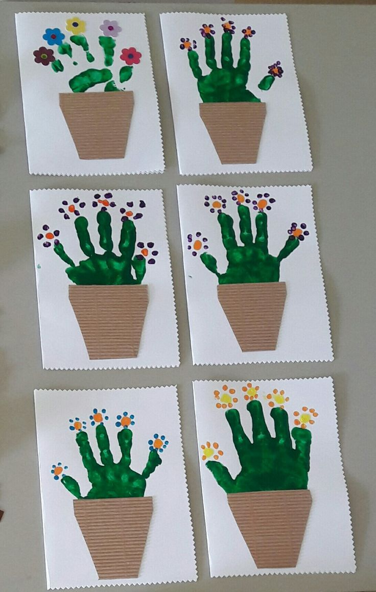 Carte pot de fleurs PS #kid-hand-painting #kid-ideas