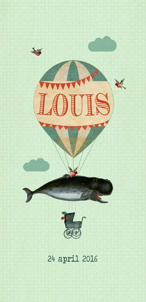 Geboortekaartje Louis - Pimpelpluis - https://www.facebook.com/pages/Pimpelpluis/188675421305550?ref=hl (#  jongen - meisje - walvis - - luchtballon - wolken - vogel - dieren - origineel)