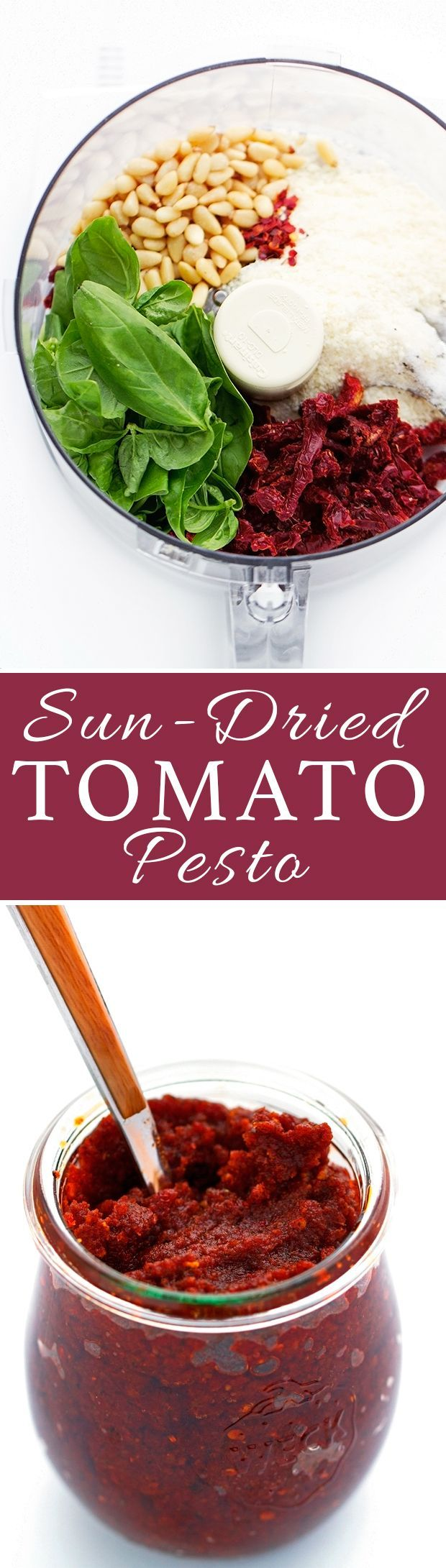 Homemade Sun-dried tomato pesto - so much more flavorful when you make it at home and cheaper too! #tomatopesto #tomatobasilpesto #pesto | Littlespicejar.com