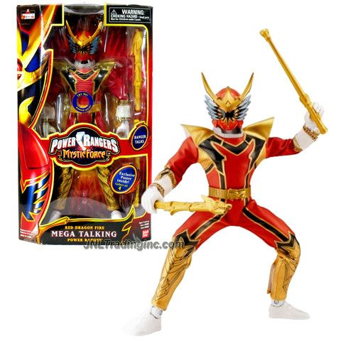 Bandai Year 2006 Power Rangers Mystic Force Series 12 Inch Tall Electronic Action Figure - Mega Talking RED DRAGON FIRE Power Ranger with Sound, Baton and Dragon Sword