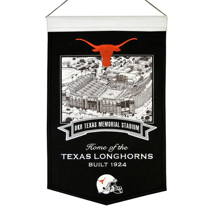 """This beautifully embroidered 15"""" x 20"""" banner celebrates the proud tradition of Texas football and their famed Texas Memorial Stadium. This banner is constructed from wool and includes embroidery and applique. A hanging rod and cord are included for easy hanging."""